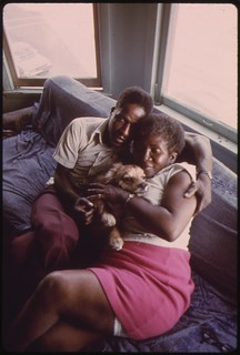 Black Couple And Their Dog In Their Apartment In South Side Chicago, 06/1973