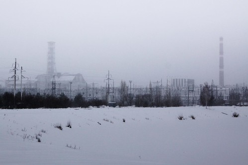 Approaching the Chernobyl Nuclear Power Plant complex from the south