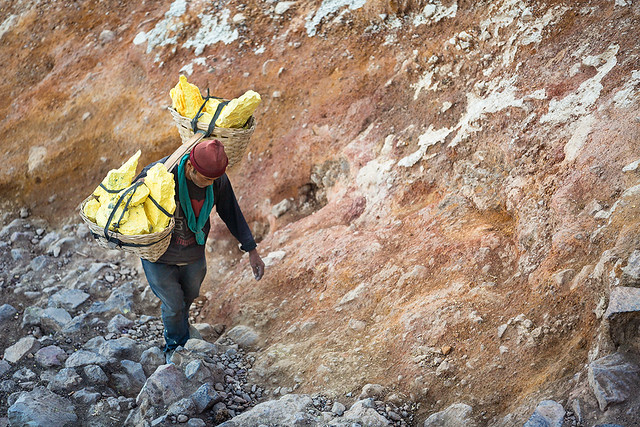 A sulfur worker at Kawah Ijen volcano in Java, Indonesia.