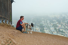 Man and dog on Bernal Hill