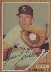1962 Topps - Haywood Sullivan #184 (Catcher) (b. 15 Dec 1930 - d. 12 Feb 2003 at age 72) - Autographed Baseball Card (Kansas City Athletics) (Green Tint)