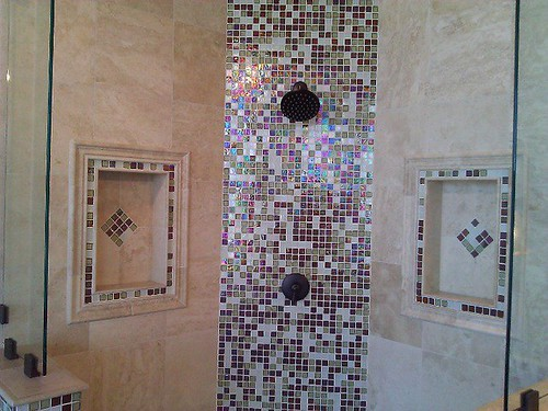 Travertine tile and glass designs