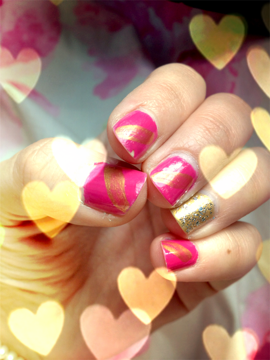 The Joy of Fashion: {Beauty}: Pink & Gold Nail Tutorial!