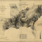 Map showing the distribution of the slave population of the southern states of the United States.