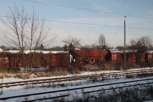Rake of abandoned wagons outside Regensburg