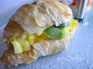 Free run organic egg salad on mini croissant