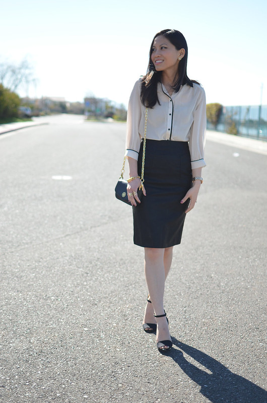 classic black & white with leather pencil skirt