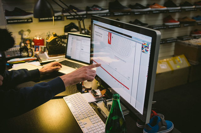 Scott Johnston showing specs for new Rick Howard Shoe by Lakai