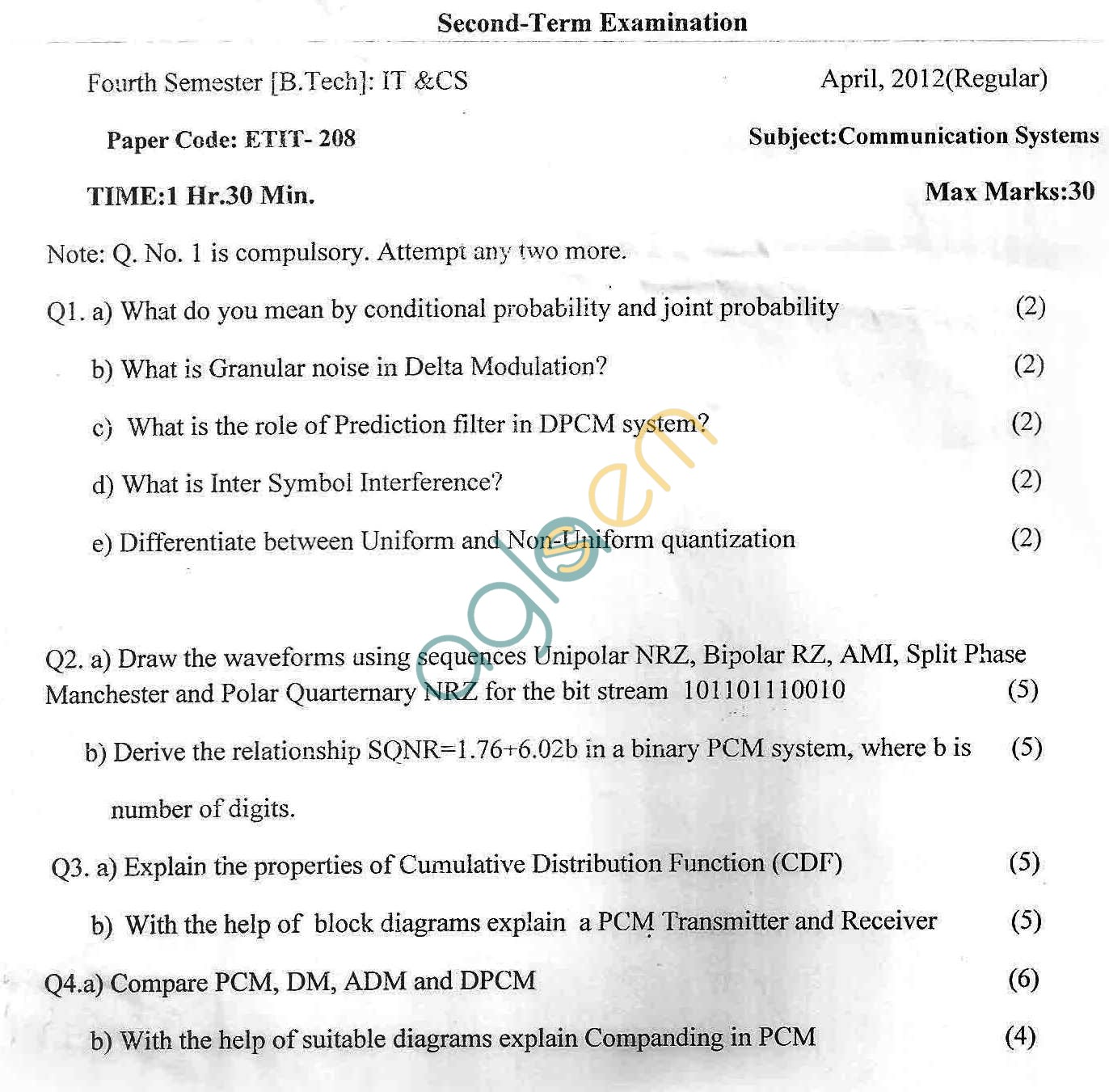 GGSIPU Question Papers Fourth Semester – Second Term 2012 – ETIT-208