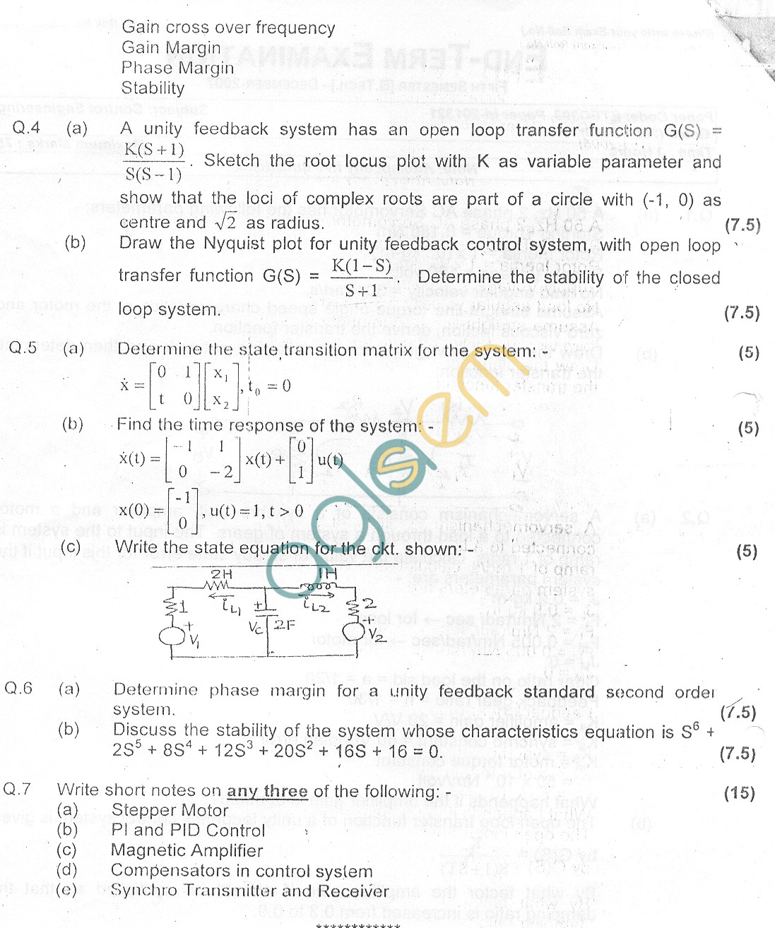GGSIPU Question Papers Fifth Semester – end Term 2007 – ETEC-303