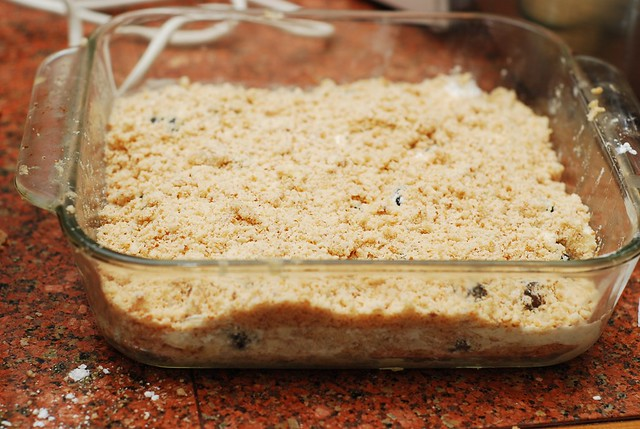 Crumble the other half of the dough over blackberries