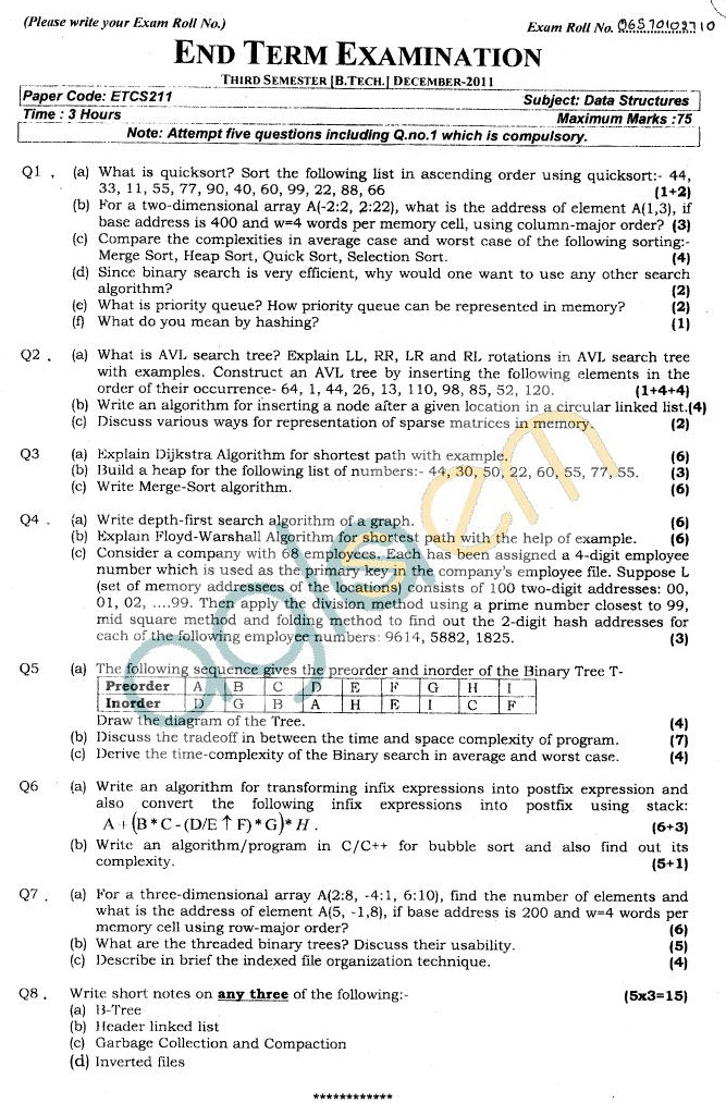 GGSIPU Question Papers Third Semester – End Term 2011 – ETCS-211