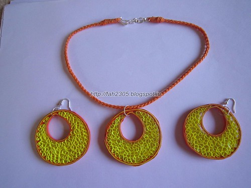 Handmade Jewelry - Paper Quilling Earrings & Pendant(3) by fah2305