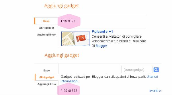 3 home page aggiungi un gadget