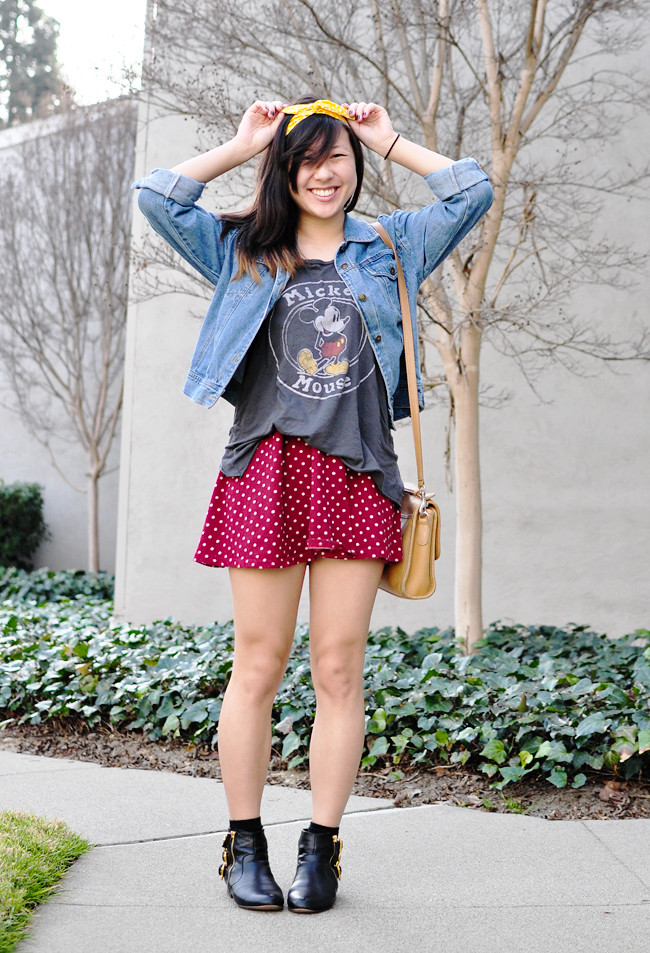 wearing: Junk Food Mickey Mouse tank top, red polka dotted dress, thrifted denim jacket, Dolce Vita boots {Modcloth}, H&M ankle socks, Modcloth yellow polka dotted headband, thrifted vintage Coach satchel