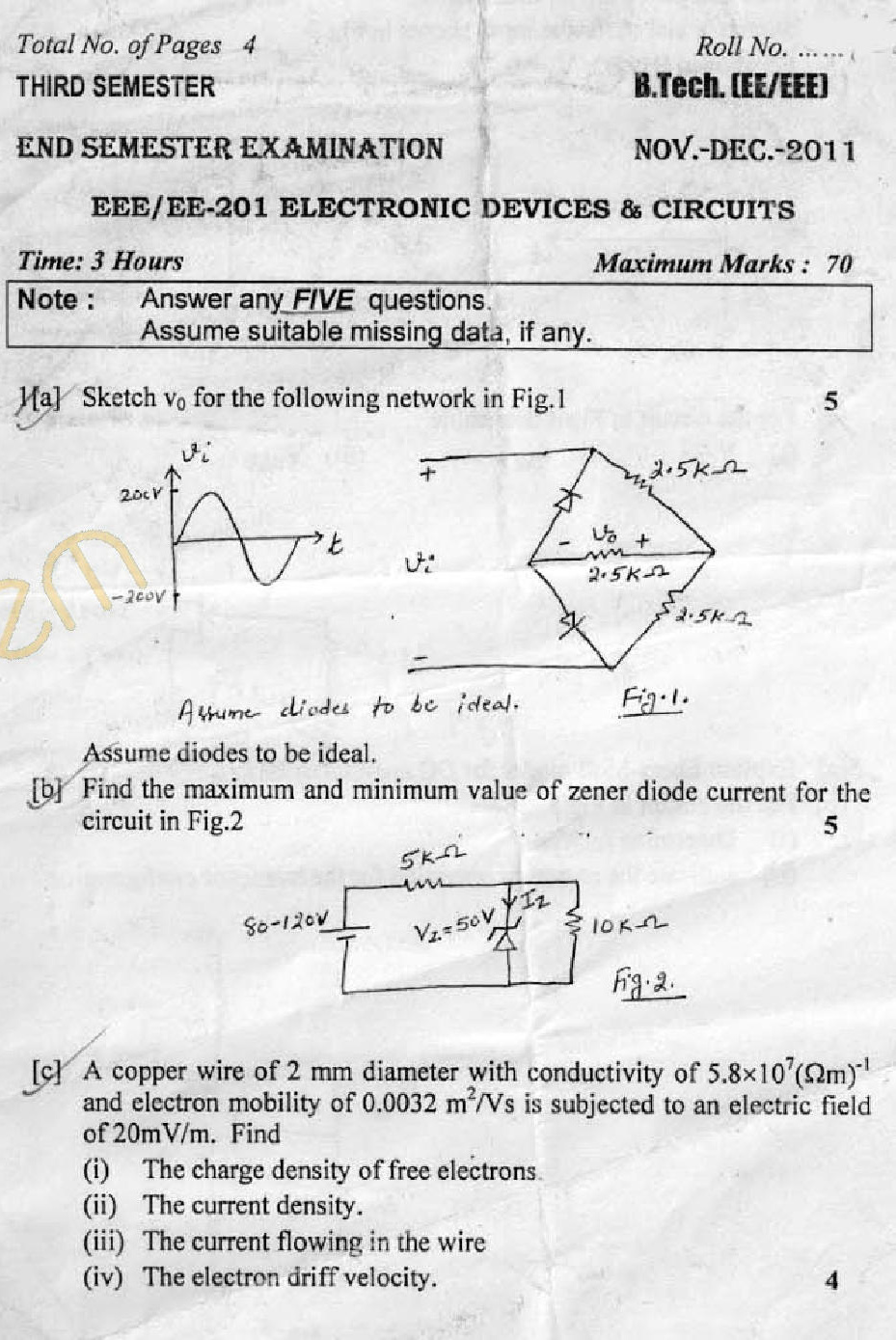 DTU Question Papers 2011 - 3 Semester - End Sem - EE-EEE-201