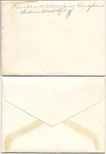 Reuben and Marjorie Brigham silver anniversary envelope