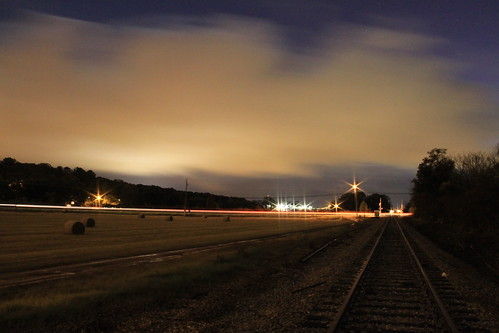 RR tracks at night