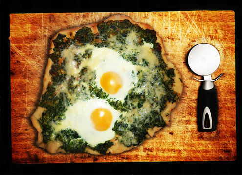 Spinach, egg & parmesan pizza