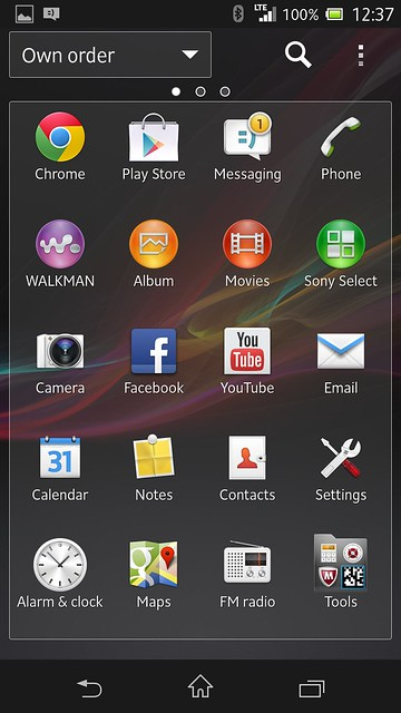 Sony Xperia Z - Application List