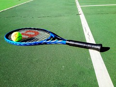 grass(0.0), cue stick(0.0), golf club(0.0), player(0.0), net(0.0), strings(1.0), ball(1.0), sports(1.0), rackets(1.0), green(1.0), ball game(1.0), lawn(1.0), ball(1.0),