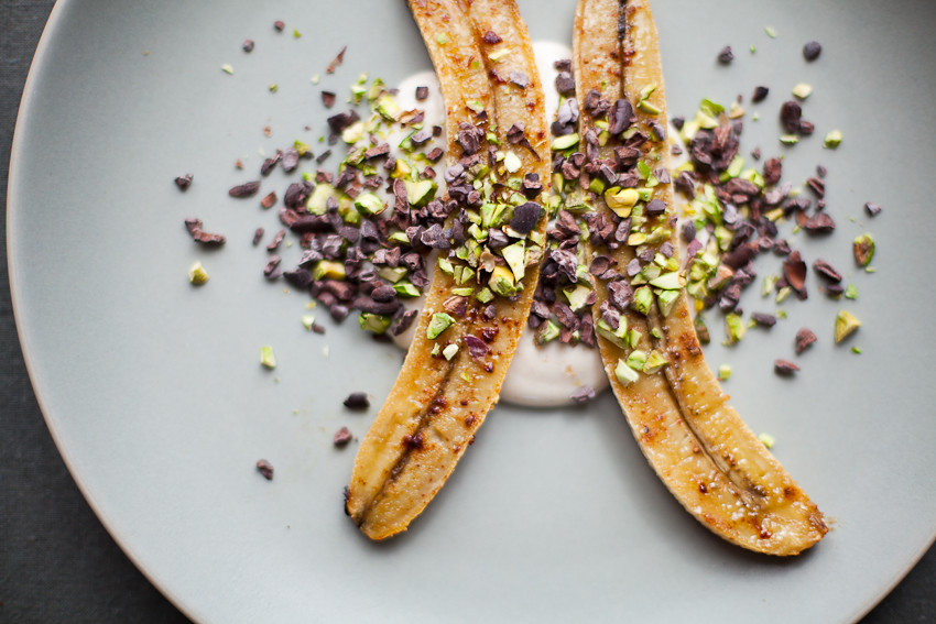 Roasted Bananas with Cacao Nibs + Pistachios