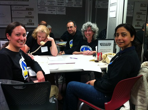 photo of volunteers in the phone room