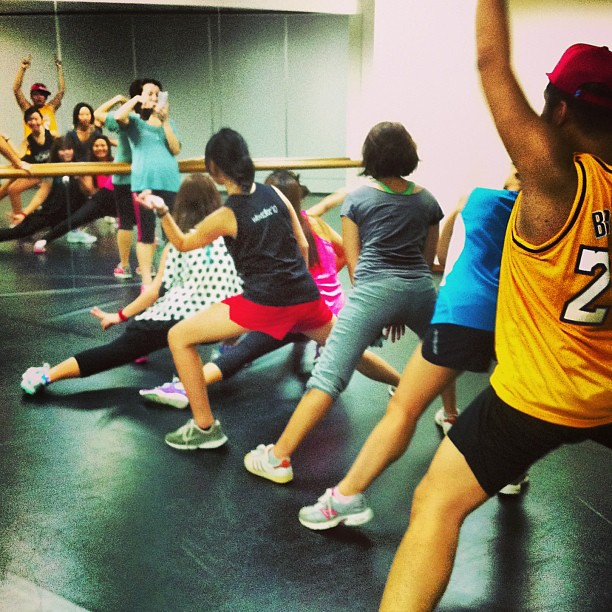 Clowning around in the dance studio after Zumba lesson (photo by me)