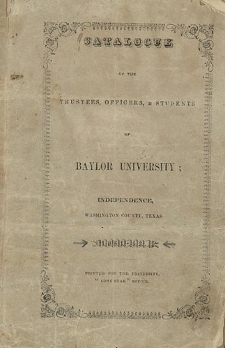 Baylor University Catalogue, 1851-52