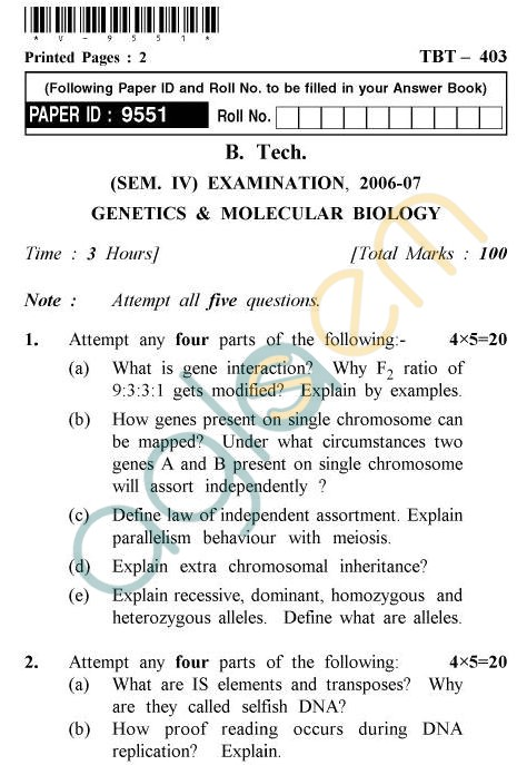 UPTU B.Tech Question Papers - TBT-403 - Genetics & Molecular Biology