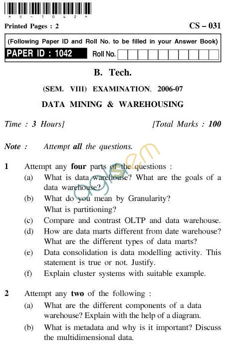 UPTU B.Tech Question Papers - CS-031-Data Mining & Warehousing