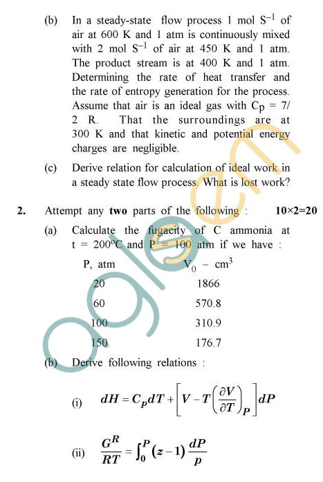 UPTU: B.Tech Question Papers -TCH-606 - Chemical Engineering Thermodynamics