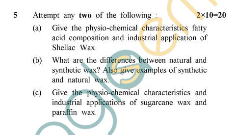 UPTU: B.Tech Question Papers - TOT-401 - Sources, Characteristics & Composition of Oils, Fats & Waxes