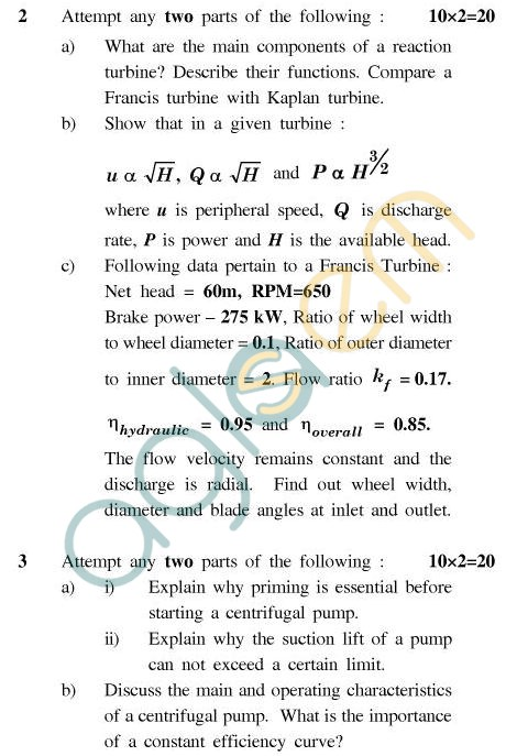 UPTU B.Tech Question Papers - TME-604 - Fluid Machinery