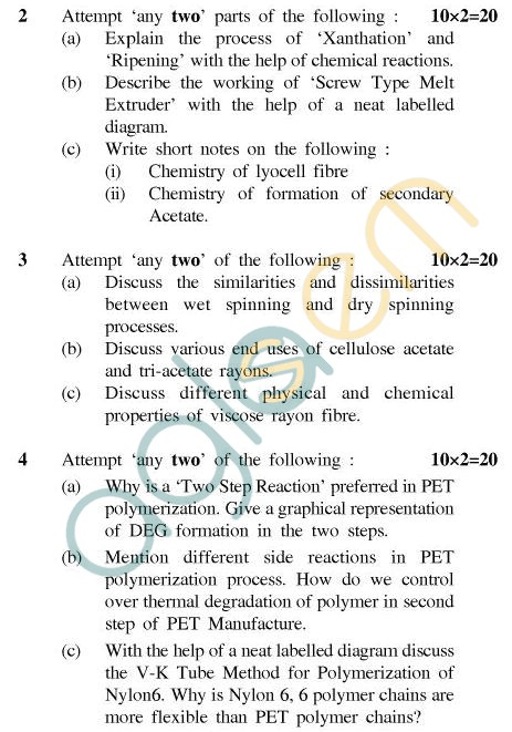 UPTU B.Tech Question Papers - CT-404(N) - Fibre Science-II
