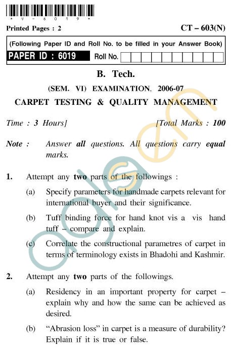 UPTU B.Tech Question Papers - CT-603 - Carpet Testing & Quality Management