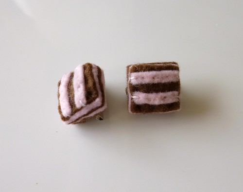 Pink and Brown Square Mini Brooches