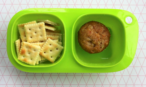mini saltine crackers and mini muffin in Goodbyn snack box