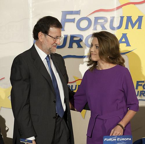 Mariano Rajoy y María Dolores de Cospedal en el Forum Europa