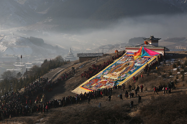 4912 Sunning of the Thangka--Langmusi , Gansu Province , China