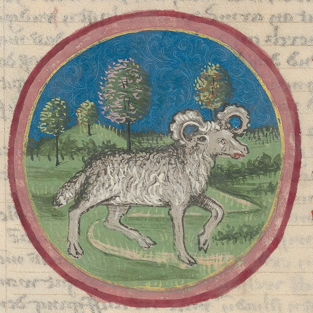 Zodiac sign of ARIES in a 15th century manuscript