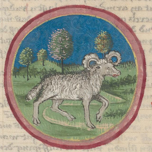 Zodiac sign of ARIES in a 15th century manuscript