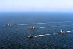 U.S. and Republic of Korea (ROK) Navy ships sail in formation March 21 at the conclusion of their part in exercise Foal Eagle. (U.S. Navy photo by Mass Communication Specialist 3rd Class Declan Barnes)