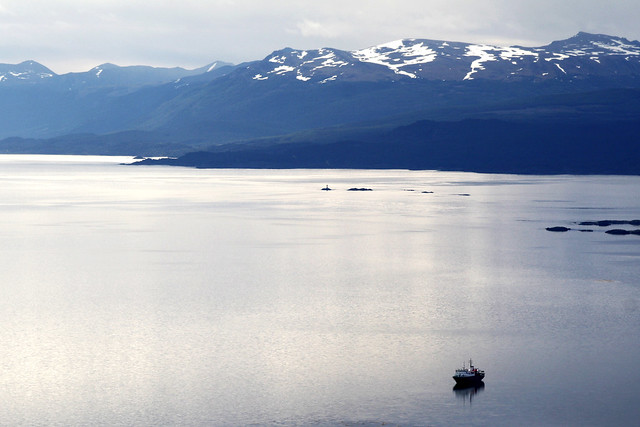 Calm sea, Beagle Channel, Tierra del Fuego, Argentina