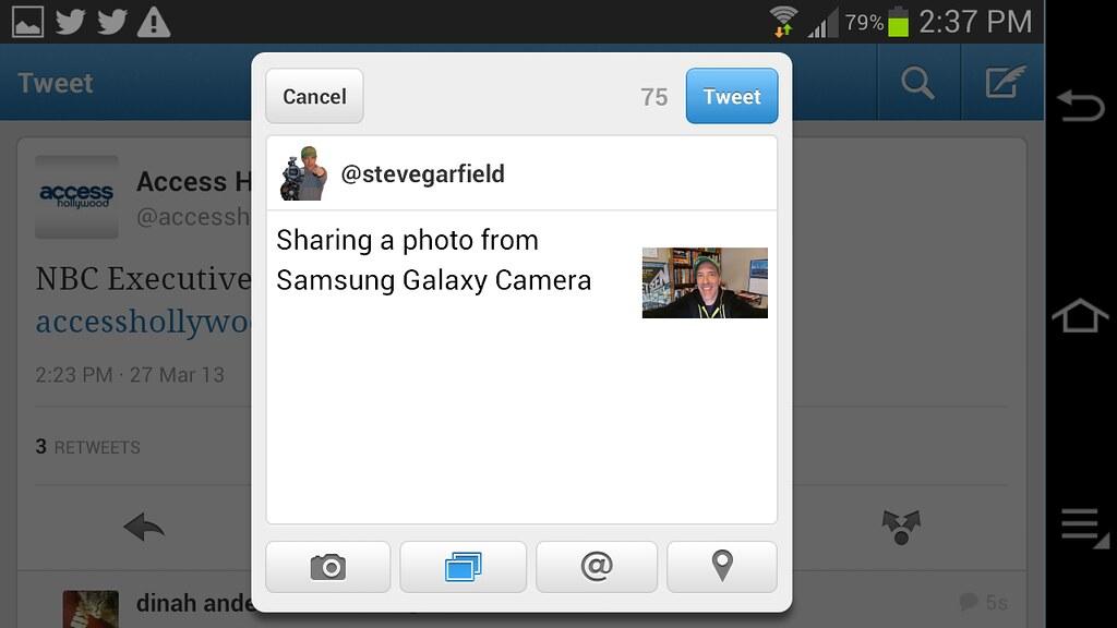 Samsung Galaxy Camera EK-GC100 Screenshots | Tweeting and ad