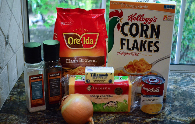 All the ingredients required to make Grandma's Special Hash Brown Casserole.