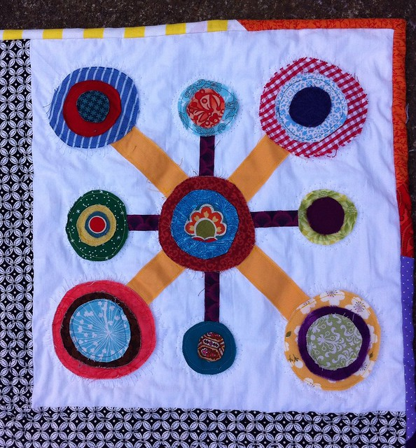 Color play appliqué mini quilt