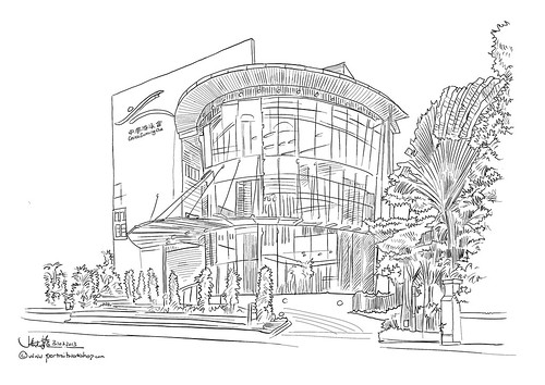 digital perspective sketch of Chinese Swimming Club - 3