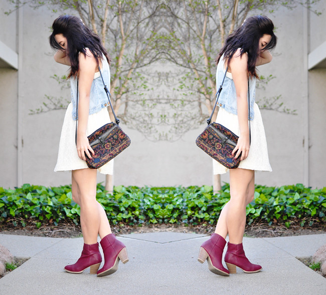 A California-based personal style blog: white floral late skater dress c/o Charlotte Russe, oxblood zip-back pleather heel bootie c/o Charlotte Russe, H&M light denim vest, thrifted purse