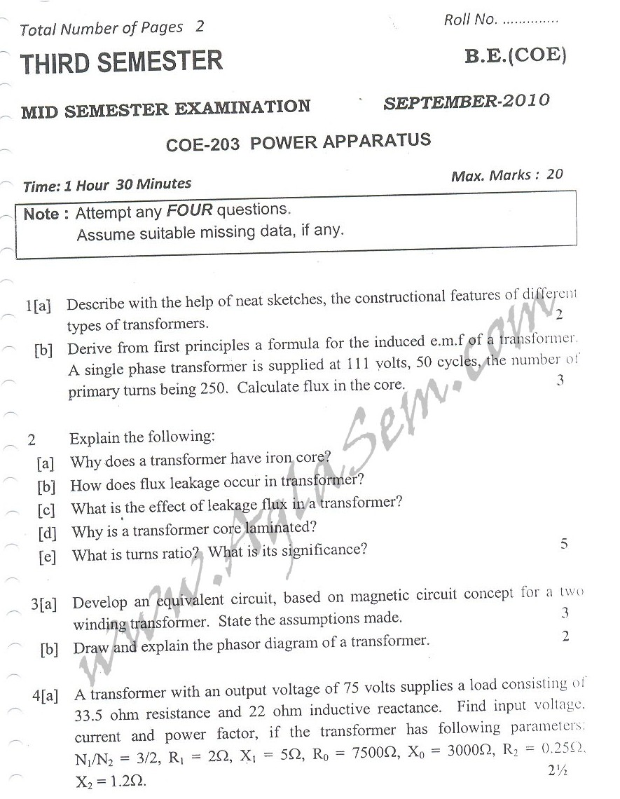 DTU Question Papers 2010 – 3 Semester - Mid Sem - COE-203